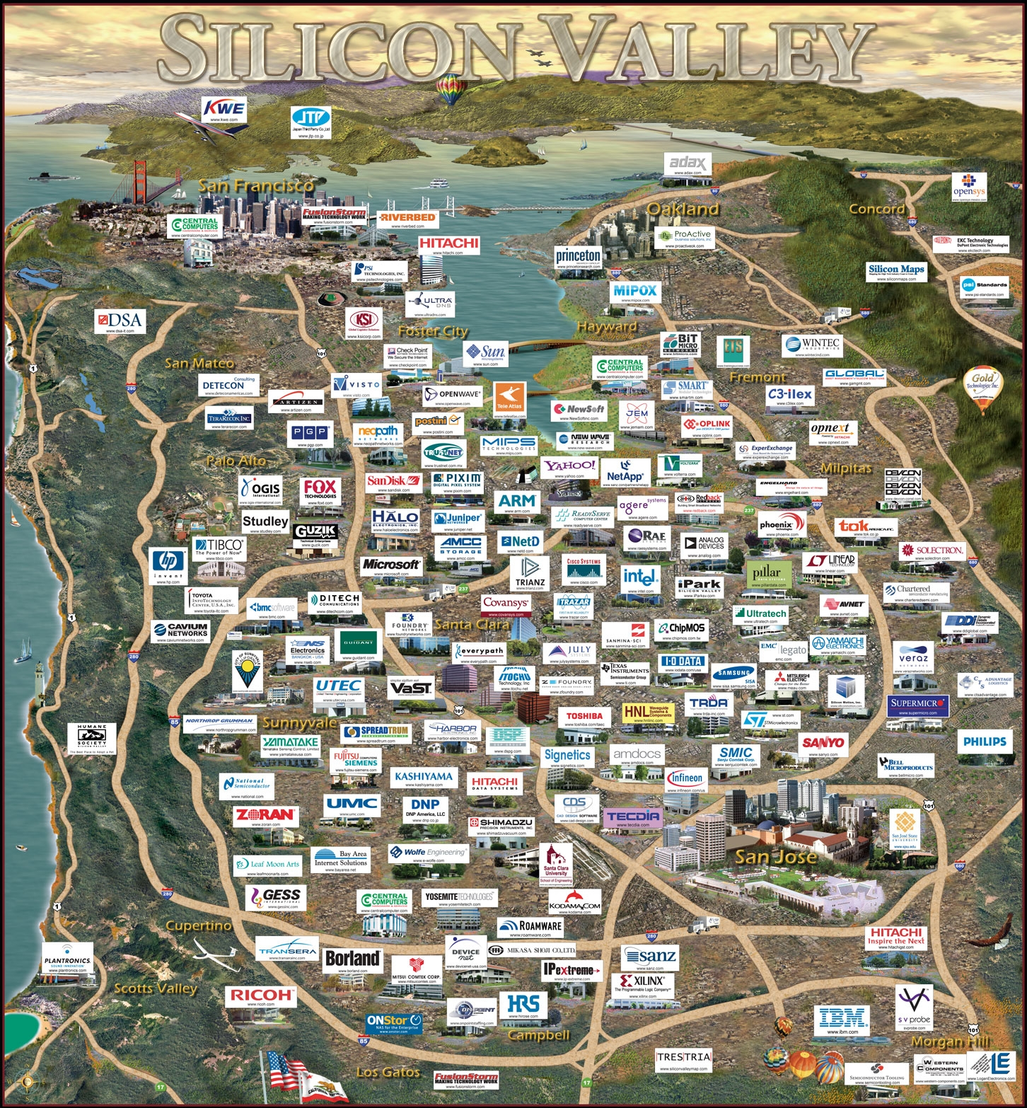 silicon valley: la mappa di tutte le start up presenti