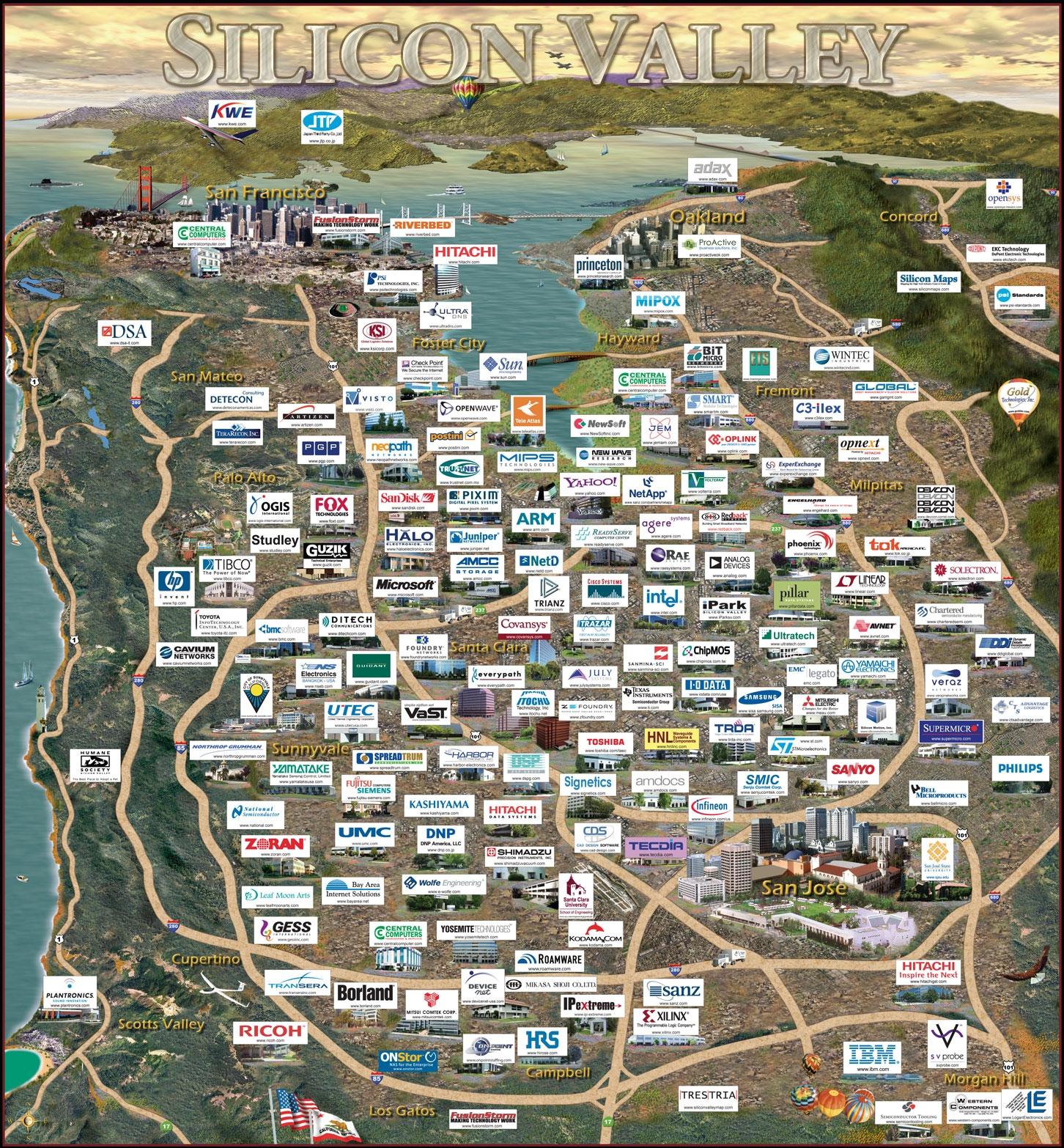 silicon valley: la mappa di tutte le start up presenti