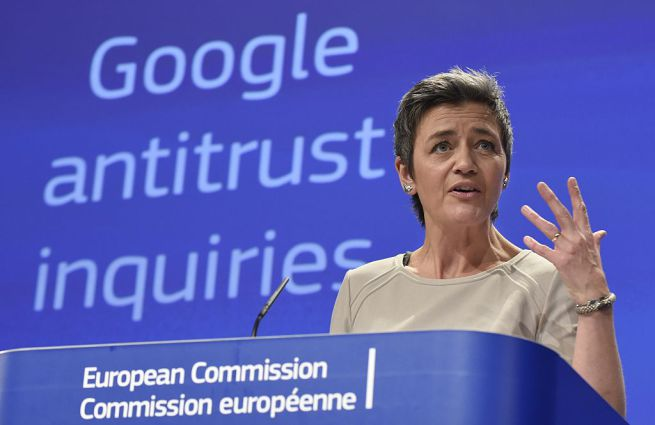 multa per google-antitrust ue-commissario-vestager
