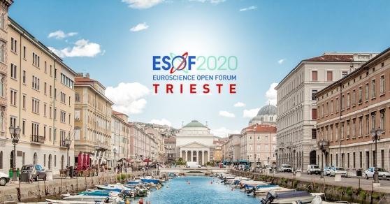 Trieste, vista della città e del logo ESOF