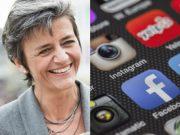 Facebook e Google nel mirino del commissario antitrust europeo, Vestager
